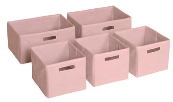 Pink Fabric Storage Bins - Set of 5