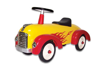 Speedster Yellow with Red Flames Kids Car