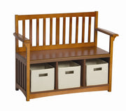 Childrens Honey Oak Storage Bench with bins