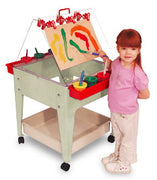 "24"" Multifunctional Youth Paint & Dry Easel/Sand and Water Activity Center Easel in Sandstone or Blue"