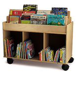 Two-Sided Wooden Mobile Library Cart/Book Storage Island