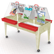 "24"" Youth Double Easel Sand and Water Activity Center w/casters in Sandstone or Blue"