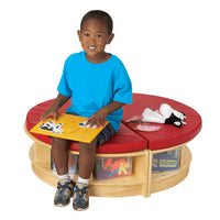 READ-a-ROUND - ISLAND - 2 Semi Benches w/Storage-RED by Jonti Craft
