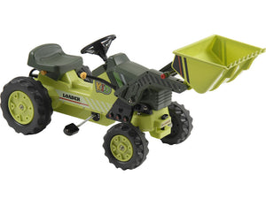 Kids Pedal Tractor-Kalee Pedal Tractor with Loader Green