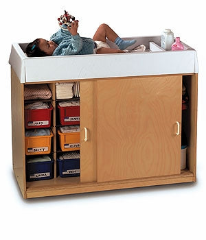 Diaper Changing and Storage Birch  Cabinet w/ Easy-Wash Top w/6 cubby trays-Made in America