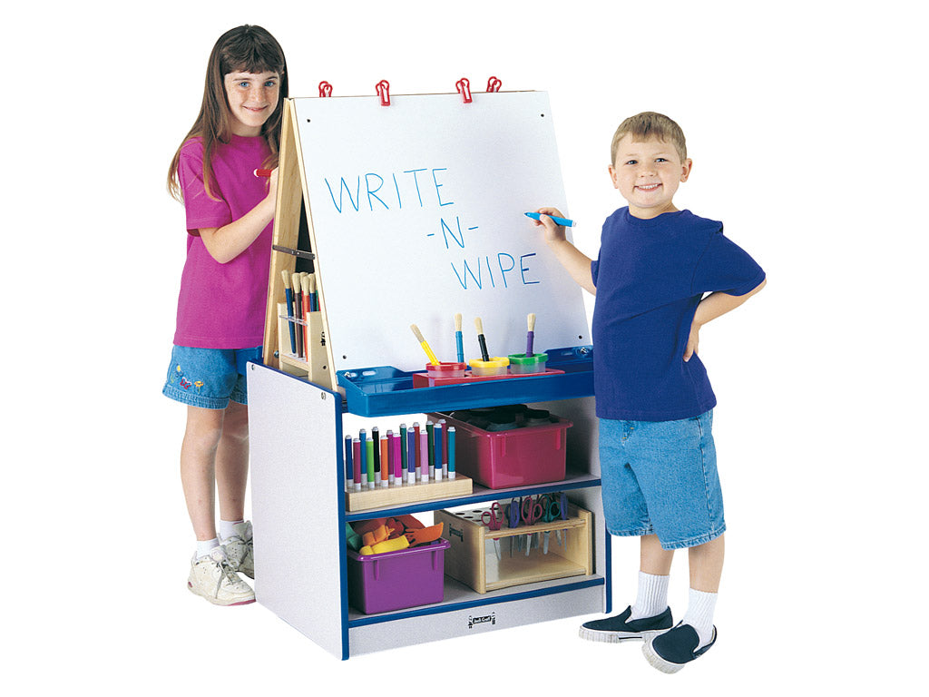 RAINBOW ACCENTS® 2 STATION EASEL - BLUE-8 colors by Jonti Craft