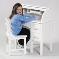 Children's desks-Jr. Roll Top Kids Desk-White/Pink
