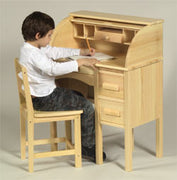 Children's furniture-Jr Roll Top kids Desk-Natural , Light Oak