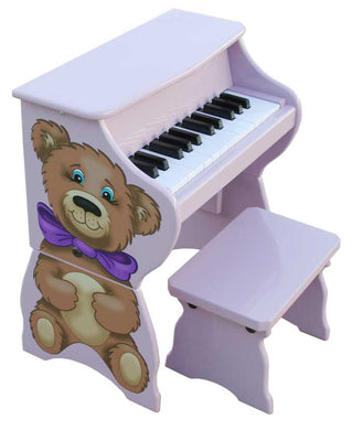 Children's Piano - 25 Key Lavender Teddy Bear Upright w/ Bench by Schoenhut