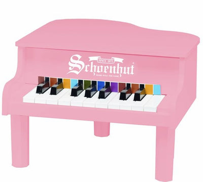 Children's Piano - 18 Key Mini Baby Grand Piano by Schoenhut, Black, White, Pink
