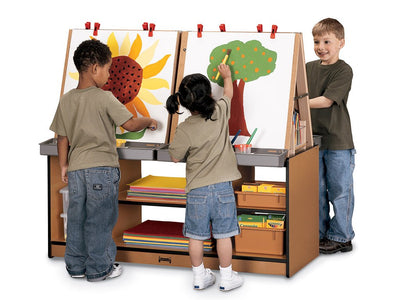 SPROUTZ® 4 STATION ART CENTER - BLACK-,CARAMEL,NAVYor RED by Jonti Craft