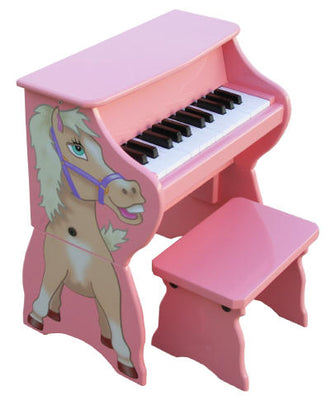 Children's Piano - 25 Key Pink Horse Upright w/ Bench by Schoenhut