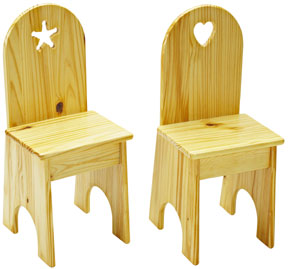 Set of 2 Child Solid Back Chair by Little Colorado, More colors