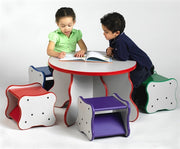 Children's Comfy Curves Wavy Legs Table & 4 stools, Made in USA