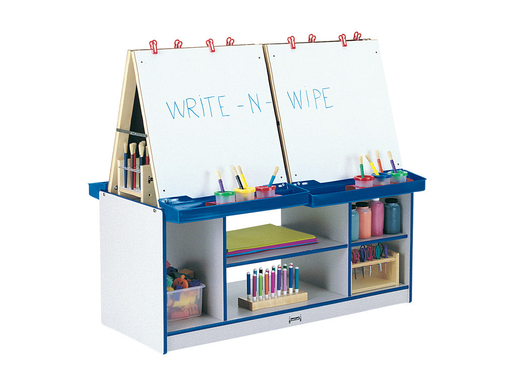 RAINBOW ACCENTS® 4 STATION EASEL - BLUE-8 colors by Jonti Craft