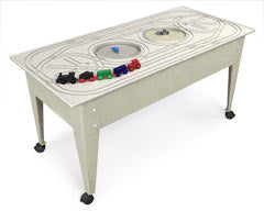 The Complete Railroad System, Youth Table w/casters- Sandstone Blue Red Green,Route Board &Trains