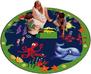 Flagship Kids Carpets-Sea Hunt™ Kids Educational Round Rug