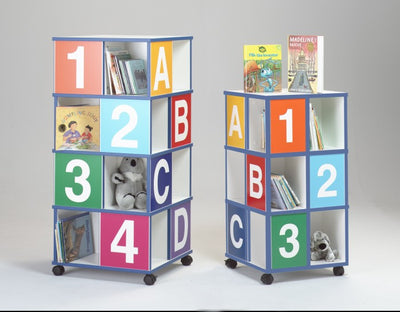 3 Tier ABC/123 Kids Book Caddy w/4 Casters-Made in USA