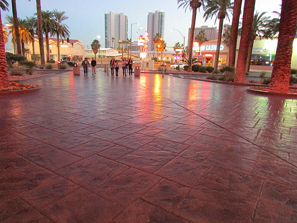 Stamped concrete in a commercial setting. Buy stamping tools on the Concrete Decor Marketplace.