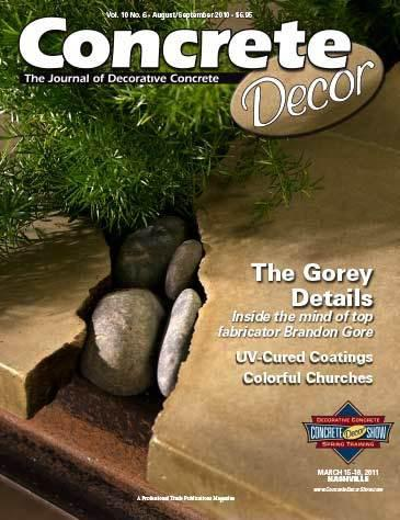Vol. 10 Issue 6 - August/September 2010 Back Issues Concrete Decor Marketplace