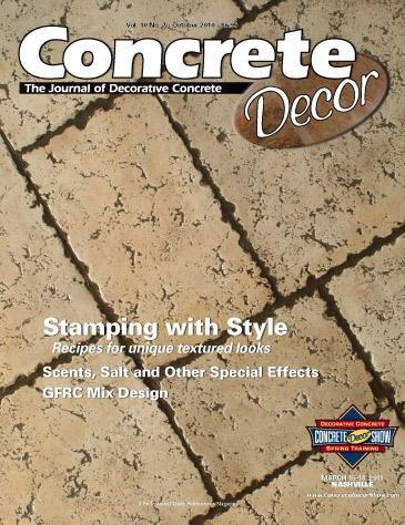Vol. 10 Issue 7 - October 2010 Back Issues Concrete Decor Marketplace
