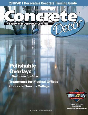 Vol. 10 Issue 8 - November/December 2010 Back Issues Concrete Decor Marketplace