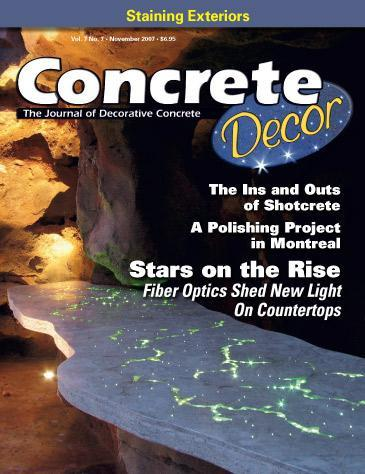 Vol. 7 Issue 7 - November 2007 Back Issues Concrete Decor Store