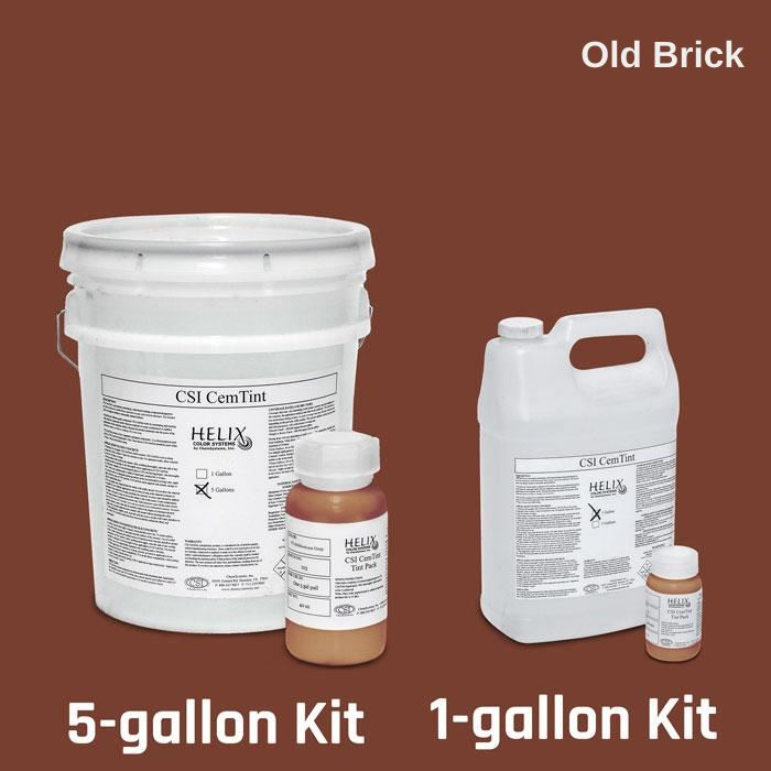 CemTint - Penetrating Water-Based Staining Compound Concrete Decor Store 1 Gallon (plus Tint Pack) Old Brick