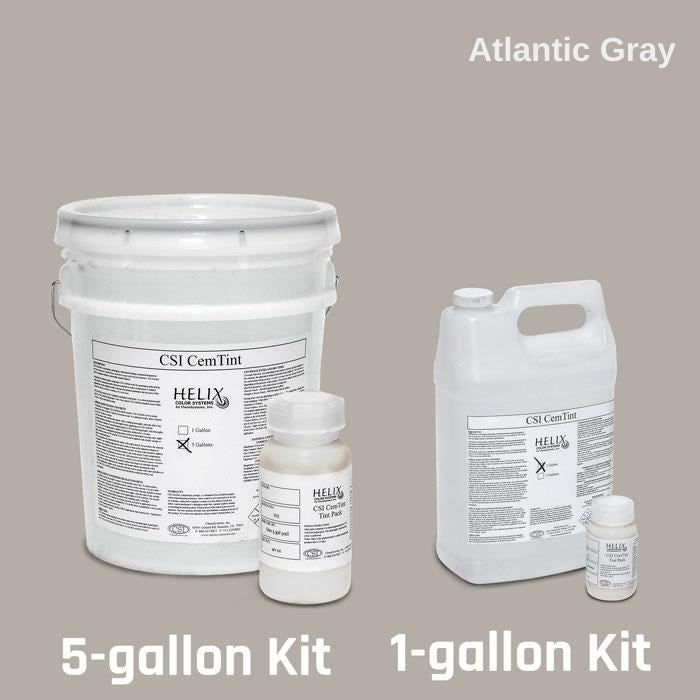 CemTint - Penetrating Water-Based Staining Compound Concrete Decor Store 1 Gallon (plus Tint Pack) Atlantic Gray
