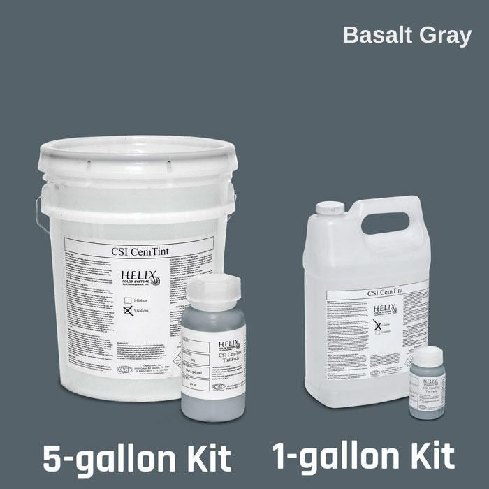 CemTint - Penetrating Water-Based Staining Compound Concrete Decor Store 1 Gallon (plus Tint Pack) Basalt Gray
