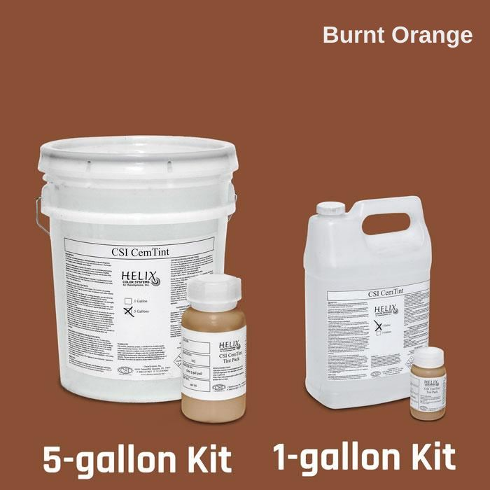 CemTint - Penetrating Water-Based Staining Compound Concrete Decor Store 1 Gallon (plus Tint Pack) Burnt Orange