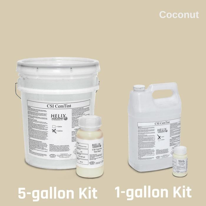 CemTint - Penetrating Water-Based Staining Compound Concrete Decor Store 1 Gallon (plus Tint Pack) Coconut