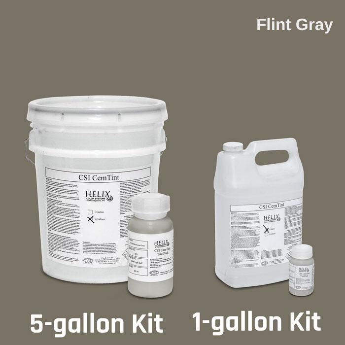 CemTint - Penetrating Water-Based Staining Compound Concrete Decor Store 1 Gallon (plus Tint Pack) Flint Gray