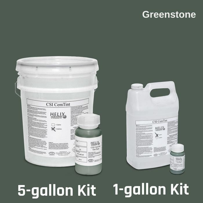 CemTint - Penetrating Water-Based Staining Compound Concrete Decor Store 1 Gallon (plus Tint Pack) Greenstone