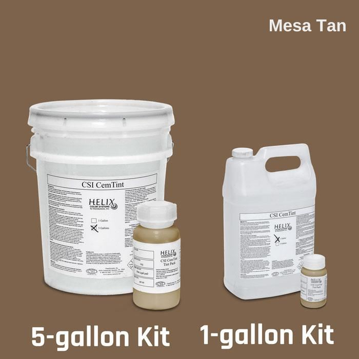 CemTint - Penetrating Water-Based Staining Compound Concrete Decor Store 1 Gallon (plus Tint Pack) Mesa Tan