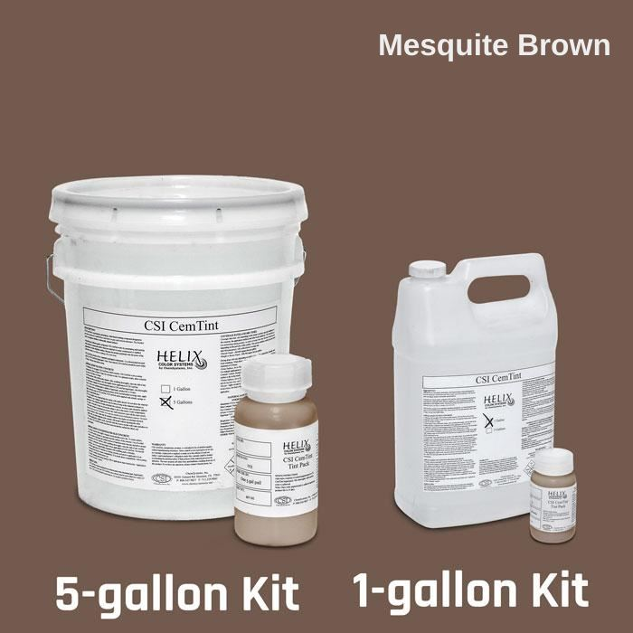 CemTint - Penetrating Water-Based Staining Compound Concrete Decor Store 1 Gallon (plus Tint Pack) Mesquite Brown