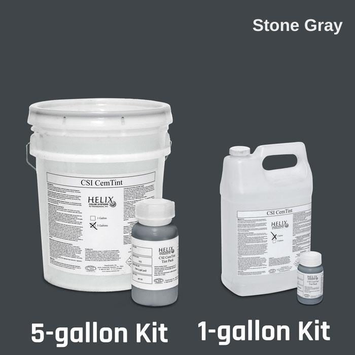 CemTint - Penetrating Water-Based Staining Compound Concrete Decor Store 1 Gallon (plus Tint Pack) Stone Gray