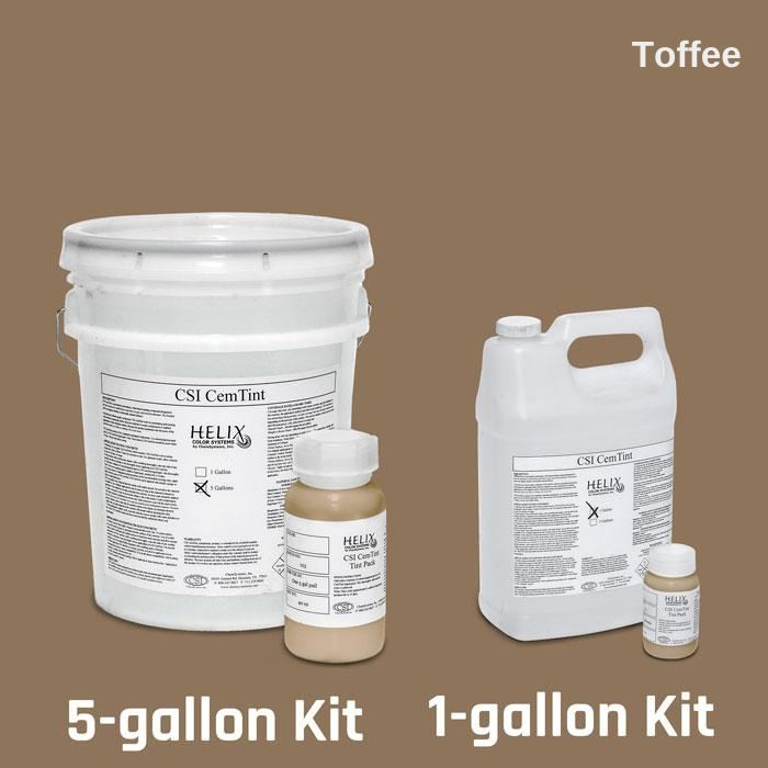 CemTint - Penetrating Water-Based Staining Compound Concrete Decor Store 1 Gallon (plus Tint Pack) Toffee