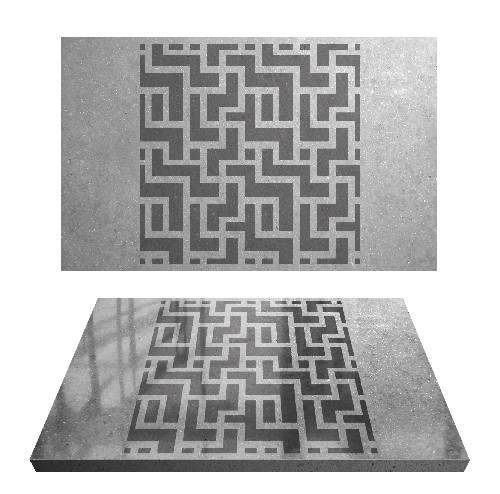 Labyrinth Brick Pattern - Adhesive-Backed Stencil supplies FloorMaps Inc.