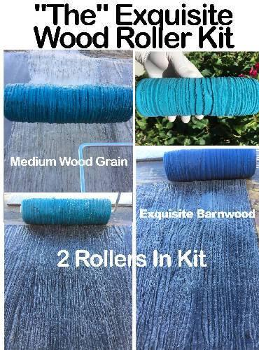 MEDIUM WOOD GRAIN & EXQUISITE BARNWOOD CONCRETE TEXTURE ROLLER KIT - SOMETHING BETTER CORPORATION - Concrete Decor Marketplace