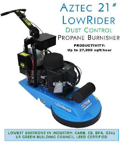 Aztec 21 LowRider DUST CONTROL Propane Burnisher - Aztec Products - Concrete Decor Marketplace