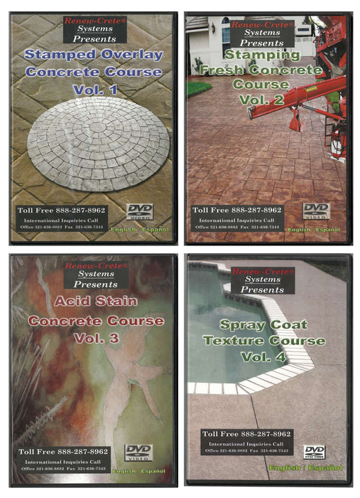 Stamped Overlay Concrete Course - Vol. 1 Renew-Crete Systems Complete Set of Training DVDs