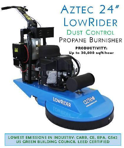 Aztec 24 LowRider DUST CONTROL Propane Burnisher - Aztec Products - Concrete Decor Marketplace