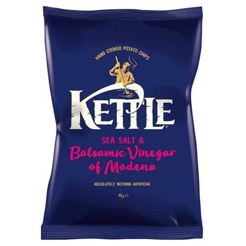 Kettle Crisps Salt & Vinegar Potato Chips 18 x 40g