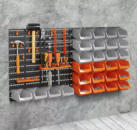 65 piece / 44 piece Wall Rack Mounted Storage Bin & Board Set For Garage DIY Tools Rack Organizer
