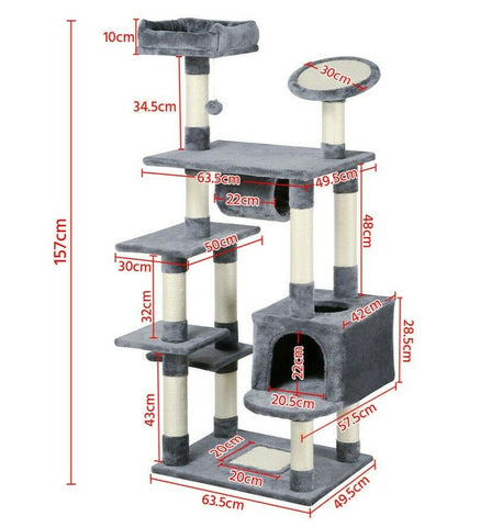Large 157 cm CatTree Climbing Tower Kitten Scratcher Scratching Post Activity Centre