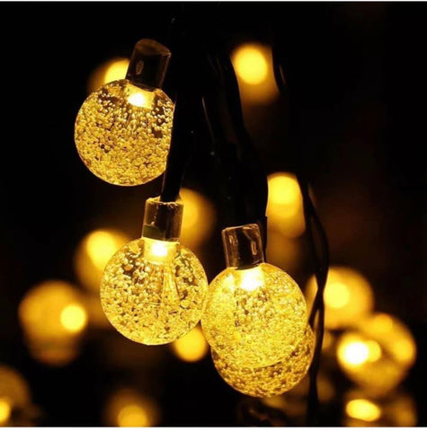 Image of 30 LED Solar Powered Garden Party String Fairy Lights Crystal Ball Various Colours
