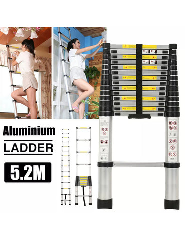 Image of 5.2m Aluminium Telescopic Extendable Ladder Step