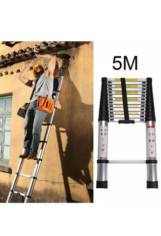 Image of 5M Heavy Duty Aluminium Telescopic Ladder Extendable Steps EN131