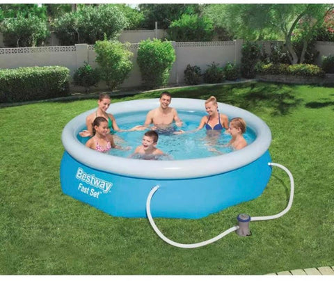Image of 10ft & 12ft inflatable outdoor swimming pool with filter